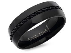 Black Titanium Band Ring w/ Chain