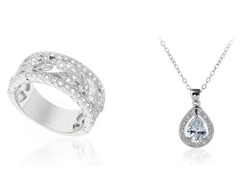 "Diamond Cut Ring and 18"" Necklace Set"