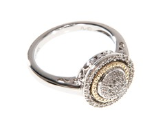 Silver & 14k Gold Diamond Ring