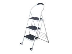 Stalwart 3-Step Ladder & Dolly, White