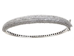 White Gold Plated SS Fancy Micropave Bracelet