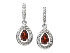 SS Garnet Gemstone w/Diamond Earrings