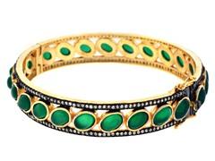 18K Gold-Plated SS Green Agate Semi-Precious Gemstone Bangle