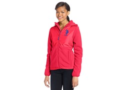 USPA Jrs Hooded Polar Fleece Jacket,Pink