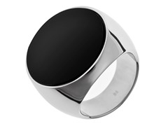 Stainless Steel and Big Black Stone Ring