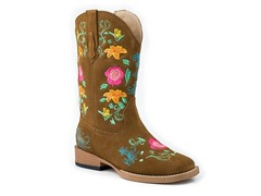 Roper Square Toe Boot W/ Floral (Youth 3)