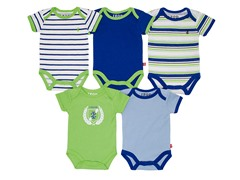 5-Pk of Blue/Lime Bodysuits (0-9M)
