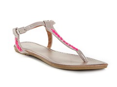 Lalo Thong Sandal, Beige and Fuschia