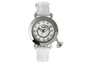 Bertha Iris MOP Leather-Band Watch