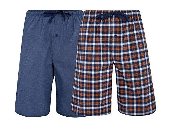 2 Pack Hanes Mens /& Big Mens Woven Stretch Pajama Shorts