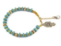 Genuine Turquoise Yellow Bead Hamsa Charm Bracelet