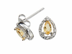 Sterling Silver Citrine Gemstone w/Diamond Studs