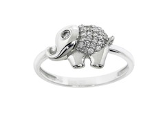 Sterling Silver Pave Elephant Ring
