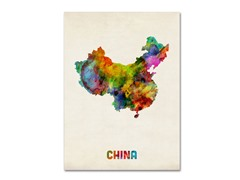 Michael Tompsett 'China Watercolor Map' Canvas Art