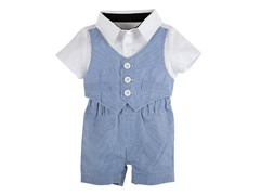 Blue & White Seersucker Playsuit (3-18M)