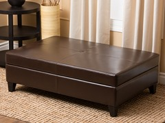 Ines Leather Flip-Top Ottoman