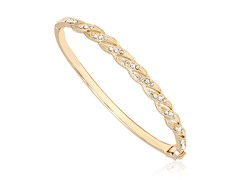 Gold/Clear Swarovski Elements Inter-laced Bangle