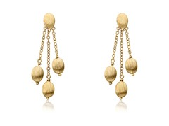 Riccova Arctic Mist 14K Gold Plated 3 Brushed Nugget Lariat Earring