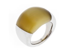 Stainless Steel and Bronze Stone Ring