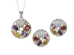 18k White Gold Plated Multicolor Set