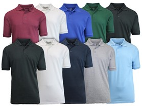 Mens 5 Pack Pique Polo Shirts