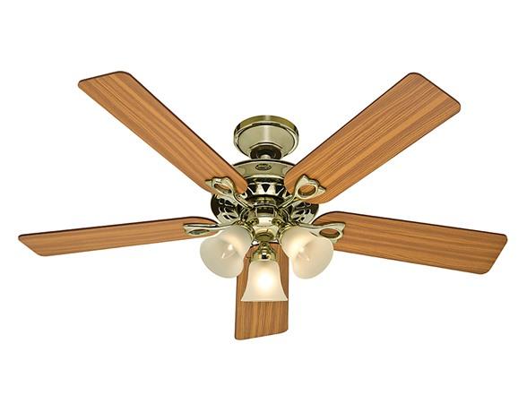 52 Inch 3 Light Ceiling Fan Brass