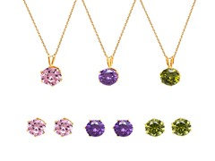 Green, Pink, & Purple Round-Cut Set of 3 Stud Earrings & Pendant Necklaces