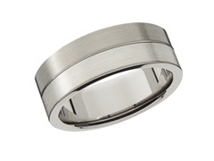 8mm Titanium & Sterling Silver Band