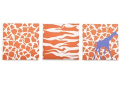 Rusty Orange Giraffe Canvas (Set of 3)