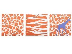Rusty Orange Giraffe Canvas (Set of 3)