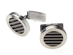 Stainless Steel Round Cufflinks, Black
