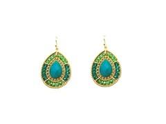 Gold-Plated & Glass Bead Dangling Earrings - Green