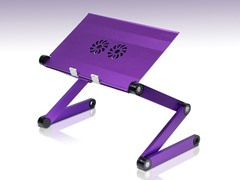 Adj/Portable Laptop Table w/Fan - Purple