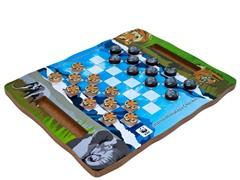 WWF Zoo Animal Wood Checkers