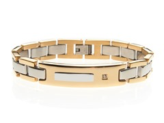 14k Gold Plated and CZ ID Bracelet