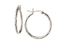 Sterling Silver Fancy Diamond Cut Hoops