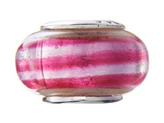 Pink & Red Swirl Glass Bead
