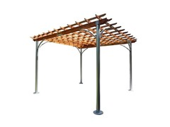 Aluminum Post Wood Top Pergola