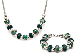 Stainless Steel Green Mix Charm Set