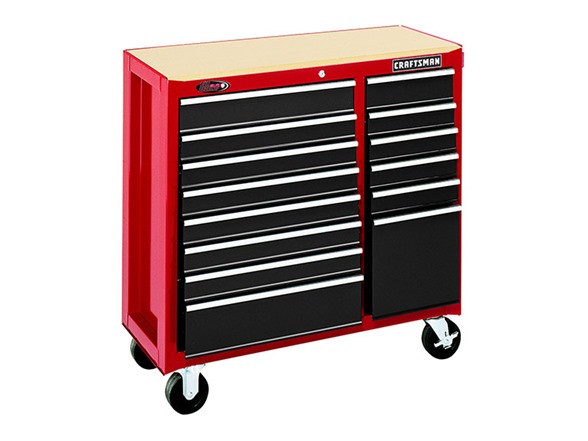 Mechanics 8 Drawer Tool Box Chest Roller Cabinet: 40-Inch 14-Drawer Rolling Cart, Red