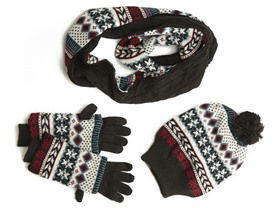 Women's Reversible Hat, Gloves, Scarf Set - 3 Colors
