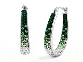 White Gold Plated Inside Out Crystal Hoops