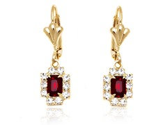 18K GP Ruby Clear Crystal Drop Earring