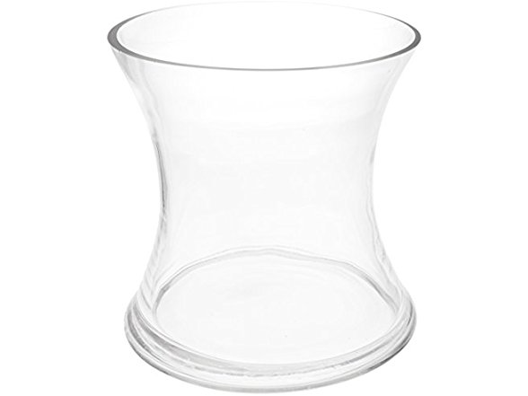 Wgv Clear Short Hurricane Concaved Glass Vase 6 Inch