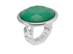 Relic Green Stone Stretch Ring, Silver