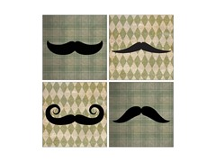 Classic Mustaches Coasters- Set of 4