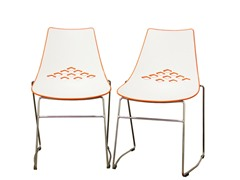 White and Orange Chair Set of 2