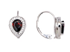 SS Garnet CZ Oval Leverback Earrings
