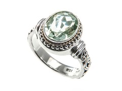 18kt Gold Bezel Green Amethyst Ring