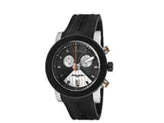 Black & Silver Rubber Chronograph Watch